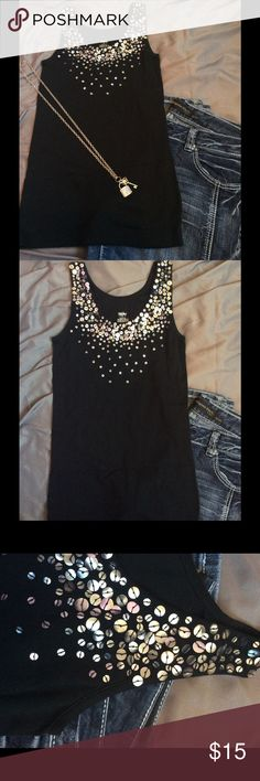 ✨ENDOFSUMMERSALE✨ Brushed Sequin Tank Top Super cute and fun! This tank will spice up any boring day, or night. No damages, or fading. This shirt was only worn a few times. The distressing of the sequins is how the shirt was made (: Any questions, leave them below! -Maria Mossimo Supply Co. Tops Tank Tops