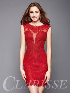 Short fitted lace cocktail dress in red or black. Sexy and elegant formal dress for homecoming or wedding guests. | Promgirl.net