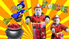 Little heroes 35firefighters with firetruck kids become zombies.Kid Cops...