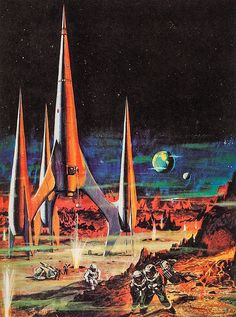 The Vault Of The Atomic Space Age — humanoidhistory: American poster art for First. fiction The Vault Of The Atomic Space Age Arte Sci Fi, Sci Fi Art, Retro Futurism Art, Look Retro, Retro Style, Vintage Space, Futuristic Art, Atomic Age, Atomic Punk