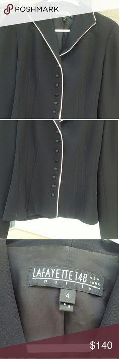 Lafayette 148 New York Black Blazer w/White Trim Black classic career button down blazer. Excellent Condition. Lafayette 148 New York Jackets & Coats Blazers