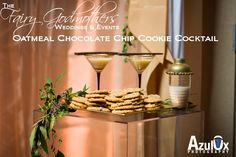 Your Very Own Fairy Godmother Weddings & Events:  The FG Oatmeal Chocolate Chip Cookie Cocktail  2 parts White Chocolate Irish Cream 1 part Goldschlager 1 part Butterscotch schnapps 1 part Hazelnut liquer Chocolate to garnish