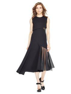 Asymmetrical Mesh Insert Dress, BLACK