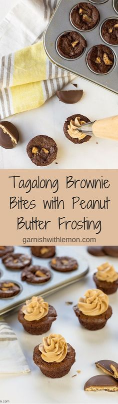 Have extra Girl Scout cookies? Make these easy Tagalong Brownie Bites with Peanut Butter Frosting! ~ http://www.garnishwithlemon.com