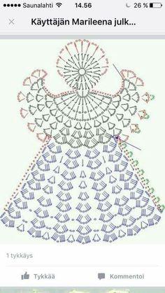 Tricô e Crochê - Knitting and Crochet: Enfeite de Natal em Crochet - Anjo Natalino Filet Crochet, Crochet Diagram, Crochet Chart, Thread Crochet, Crochet Motif, Crochet Flowers, Knit Crochet, Crochet Fabric, Crochet Cross
