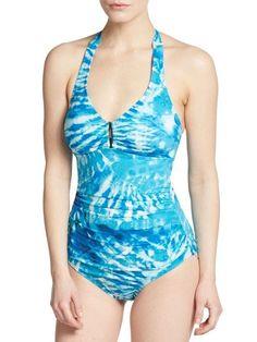 Calvin Klein Swim One Piece Sz 14 Cerulean Blue Halter UPF 50+ Swimsuit CG5MB547 #CalvinKlein #OnePiece