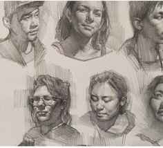 More student studies. Anatomy Sketches, Anatomy Drawing, Drawing Sketches, Sketching, Portrait Sketches, Portrait Art, Volume Art, Human Face Sketch, Sketch Inspiration