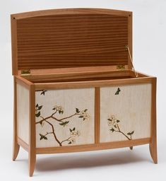 Dogwood Blanket Chest Listing Listed on: Studio Furniture, Furniture Design, Chest Opening, Chess Table, Drawer Shelves, Blanket Chest, Marquetry, Keepsake Boxes, Pyrography