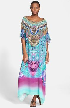 Camilla+Embellished+Print+Silk+Crepe+Caftan+available+at+#Nordstrom