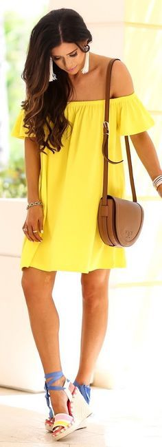 This yellow off the shoulder dress is so adorable! Perfect for a summer wedding, bridal shower, baby shower! So many excuses and reasons to buy this dress!!