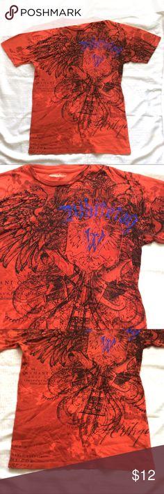 "Men's Graphic T-Shirt Burnt Orange & Black Size Medium, T-Shirt Burnt Orange, Cotton Color Graphic, excellent condition, measures 18"" across shoulders, 19"" armpit to armpit, straight sides, 28"" long. unknown Shirts Tees - Short Sleeve"