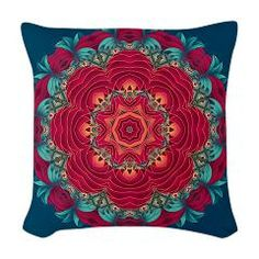 14.25 square pillow with a beautiful red lotus mandala. #PODpinparty #zandiepants