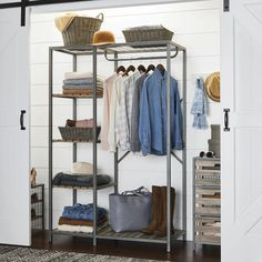 better homes gardens farmhouse grey wood and metal garment rack walmart com