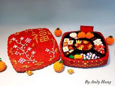 Chinese New Year Candytray Chinese New Year Food, Chinese New Year Decorations, New Years Decorations, Legos, Lego Food, Lego Lego, Lego Movie Sets, Chinese Celebrations, Asian Crafts