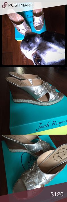 """Jack Rogers Sophia wedge sandal Brand new in box!! Platinum color with raffia wrapped stacked wedge. 3.5"""" wedge, 3/4"""" platform sole. Jack Rogers Shoes Sandals"""