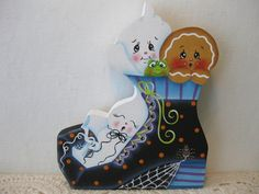 HP Gingerbread Halloween WITCH BOOT SHELF SITTER hand painted USA