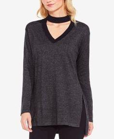 Vince Camuto Choker Sweater - Gray XXS