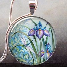 Dragonfly and Iris art necklace charm, resin pendant dragonfly art