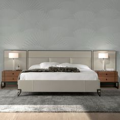 London Collection Modern Low Leather Upholstered Bed With Wide Headboard - Juliettes Interiors Modern Headboard, Headboard Designs, Headboards For Beds, Floor Bed Frame, Bedroom Bed Design, Master Bedroom, Bedroom Decor, Leather Bed, Bedrooms