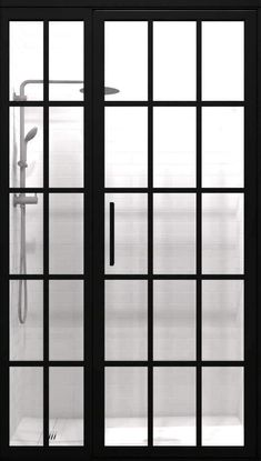 Gridscape GS1 Swing Shower Door and Panel in Black with Clear Glass