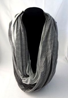 Infinity scarf black white stripes gray double loop donut jersey fabric Look #Look #CowlInfinity #AnyOccasion