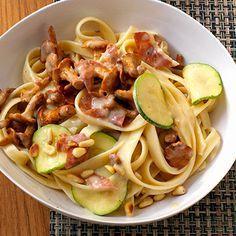 Zucchini und Pfifferlinge mit Bandnudeln Rezept   Küchengötter