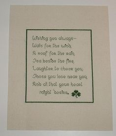 "Irish Cross Stitch Blessing ""Wishing You Always..."" to Frame $6.75"