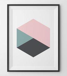 Coral Green Gray Hexagon Print Geometric Hexagon Pink Mint