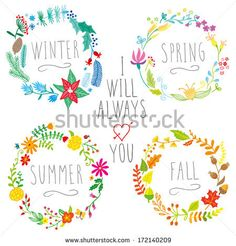 hand-drawn floral frames with all seasons  by Art'nLera, via Shutterstock