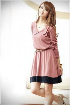 Korean Princess Collar Color Matched Long Sleeve Casual Dress Pink on BuyTrends.com, only price $12.92