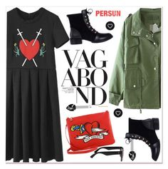 """black, red and green"" by paculi ❤ liked on Polyvore featuring Love Moschino"