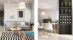 czarna ściana ,farba tablicowa magnetyczna na ścianie,zioła w kuchni,ekspozycja ziół i przypraw kuchennych na ścianie,salon w stylu skandybnawskim,niebieski kolor detale w salonie