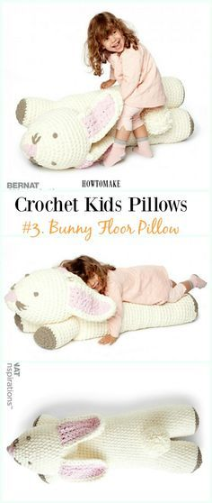 Crochet Bunny Floor Pillow Free Pattern -Fun #Crochet Kids #Pillows Free Patterns