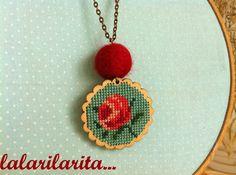 Boho necklace // Felt // Cross Stitch //  Beautiful Rose