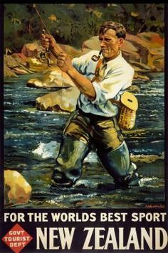 NZ Vintage Fly Fishing Poster for Sale - New Zealand Art Prints