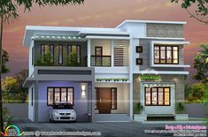 awesome Attractive 4 bedroom flat roof house Simple Bungalow House Designs, Modern Bungalow House Plans, Modern Exterior House Designs, Modern House Design, Two Story House Design, Duplex House Design, House Front Design, Flat Roof House, Facade House