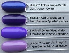 colour comparison of shellac video violet from the CND new wave collection, compared to other Shellac colours in the range, pictured by fee wallace