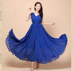 Royal Blue V Neck Wedding Dress Summer Sundress Plus Size Evening Dress Gown Holiday Beach Dress bridesmaid Gown
