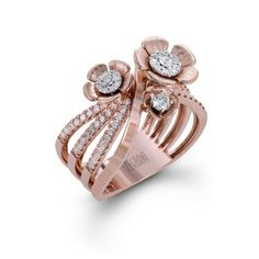 This delightful rose gold ring from the Nature Lover collection contains of white diamonds and includes charming rose gold flowers with a diamond in the center of each one. Gold Rings Jewelry, Jewelery, Silver Rings, Men's Jewellery, Designer Jewellery, Diamond Jewellery, Diamond Studs, Silver Jewellery, Latest Ring Designs