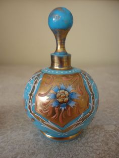 Blue Opaline Perfume Bottle with Enameling & Gold gilding