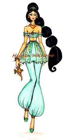 Hayden Williams Fashion Illustrations: The Disney Diva's collection by Hayden Williams: Jasmine. My fav princess Kida Disney, Princesas Disney, Disney Style, Disney Love, Punk Disney, Hayden Williams, Estilo Disney, Arte Disney, Disney Films