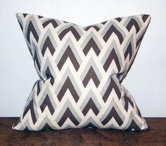 18x18 Gray Chevron and Brown Canvas pillow by FurnitureFrosting