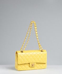 hanel:  Chanel - yellow quilted leather 'Classic' shoulder bag