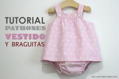 DIY Tutorial y patrones VESTIDO y BRAGUITAS para bebé