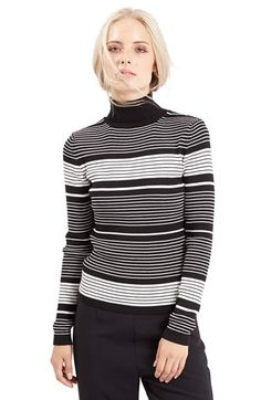 Free shipping and returns on Topshop Stripe Roll Neck Sweater at Nordstrom.com. A cute rolled collar crowns this ribbed body-con sweater decked in jazzy monochrome stripes.