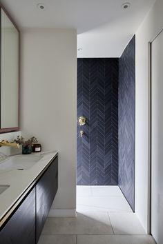 Chevron Bathroom, Wood Bathroom, Bathroom Ideas, Waterworks Bathroom, Washroom, Master Bathroom, Contemporary Bathroom Designs, Bathroom Design Luxury, Hidden Shower