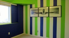 Fun way to paint a teen's room. One wall is striped navy blue, white, and neon green. The other three walls are plain blue, white, and green. Green Boys Room, Bedroom Green, Green Rooms, Boys Bedroom Paint, Kids Room Paint, Girls Bedroom, Bedrooms, Striped Ceiling, Striped Room