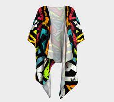 Graffiti One draped kimono. For more beautiful, eco, handmade yoga and swim leggings, crop tops, mini shorts, kimonos, beanies, and more, go to www.sleepysweats.com.  #leggings #highquality #eco #organic #performance #yoga #surf #surfwear #swim #summer #swimwear #trend #scarves #scarf #beanie #headband #buff #fashion #2018 #kimono #robe #peignoir #bags #totes #handbag #neoprene #gift #idea #lady #woman #mom #babyshower #pregnancy #beautiful #sweatshopfree #fairtrade #fairwages