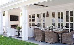 Blue and white classic American style home of BIll and Guiliana Rancic as feautred in Traditional Home magazine Love this back patio off the french doors Outdoor Areas, Outdoor Rooms, Outdoor Dining, Outdoor Decor, Outdoor Patios, Outdoor Kitchens, Indoor Outdoor, Patio Interior, Interior Design
