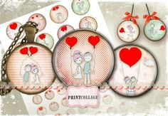 Love - Digital Circles - 4 Sizes Cabochon images round Digital Printable Sheets Printable images for pendants   ITEM DESCRIPTION: Two Pages with 4 Size digital circles Page size - A4 standard letter size 8,5x11 inch - 1 page with 1.5 inch and 20 mm circle images. (12 circles and 30 circles ) - 1 page with 1 inch and 16 mm circle images. (20 circles and 48 circles ) Digital file: jpg / 300 dpi resolution Download and print A4 paper   PRINTABLE DOWNLOAD via Etsy You can download your files…